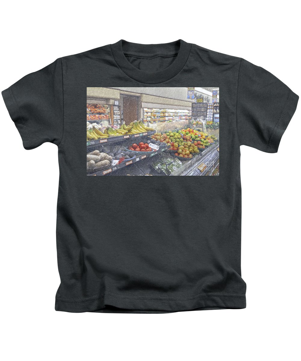 Supermarket Produce Section Kids T-Shirt featuring the photograph Supermarket Produce Section by David Zanzinger