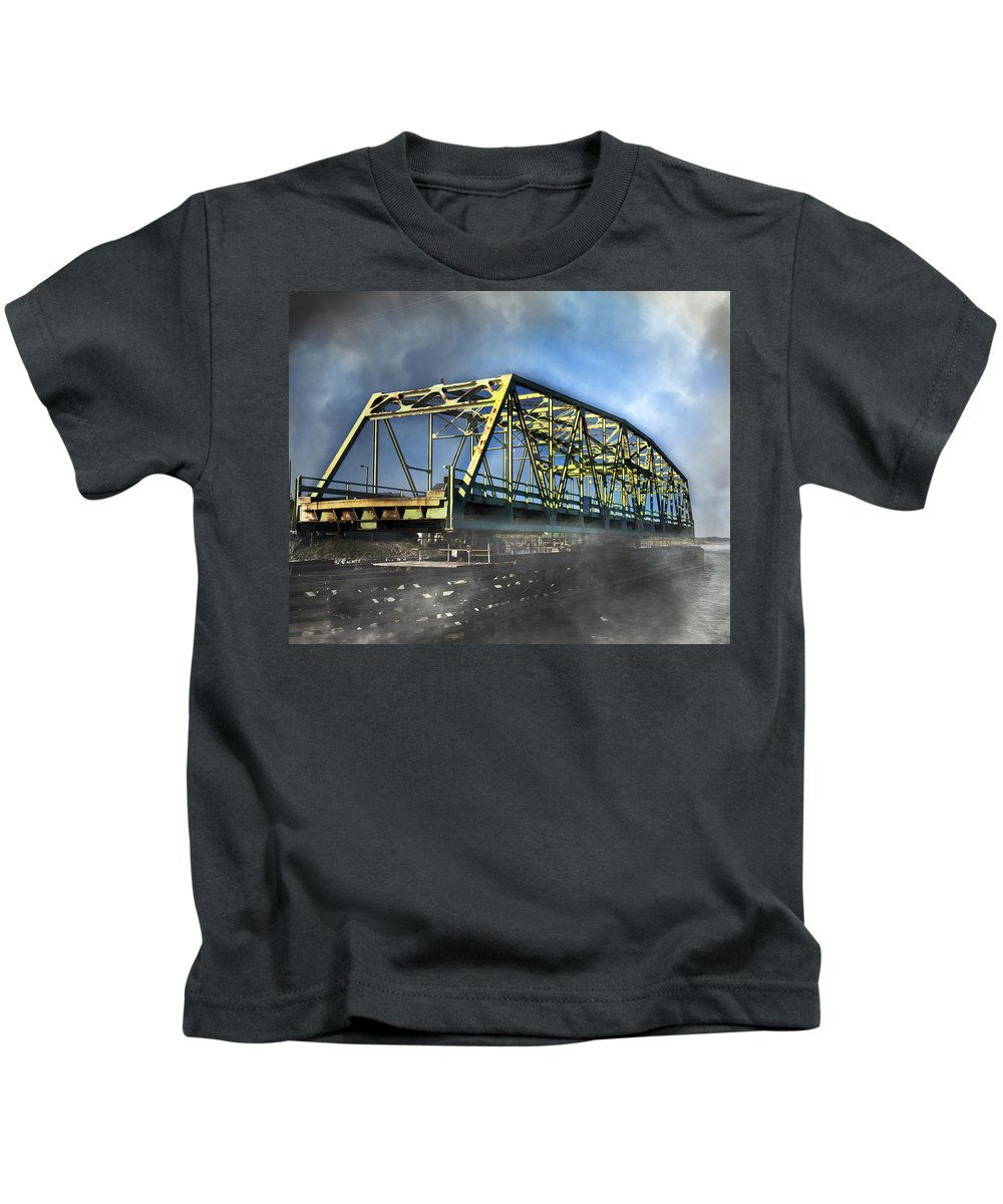 Topsail Kids T-Shirt featuring the photograph Surf City Nc Swing Bridge by Betsy Knapp