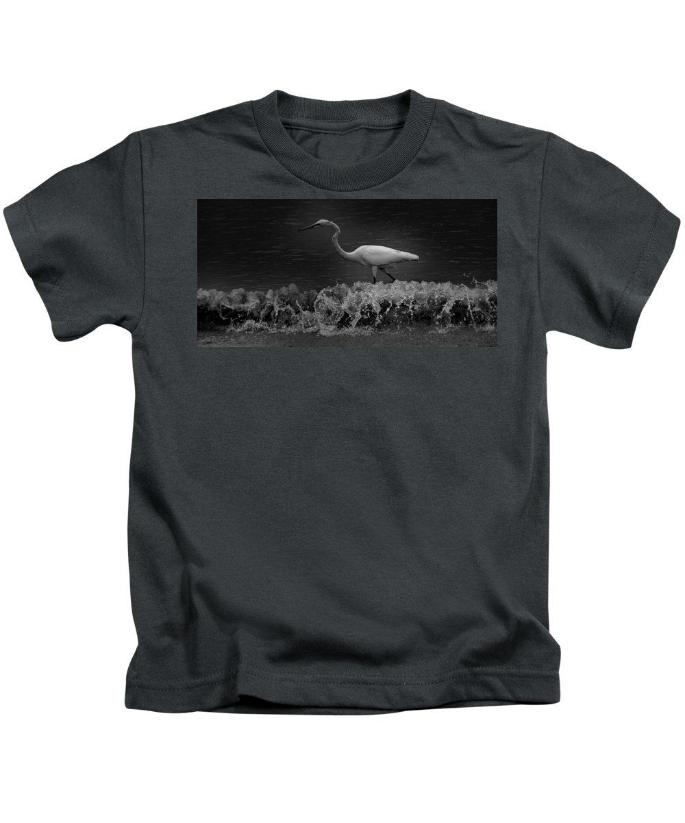 Black And White Kids T-Shirt featuring the photograph Surf Supper by Jody Braswell