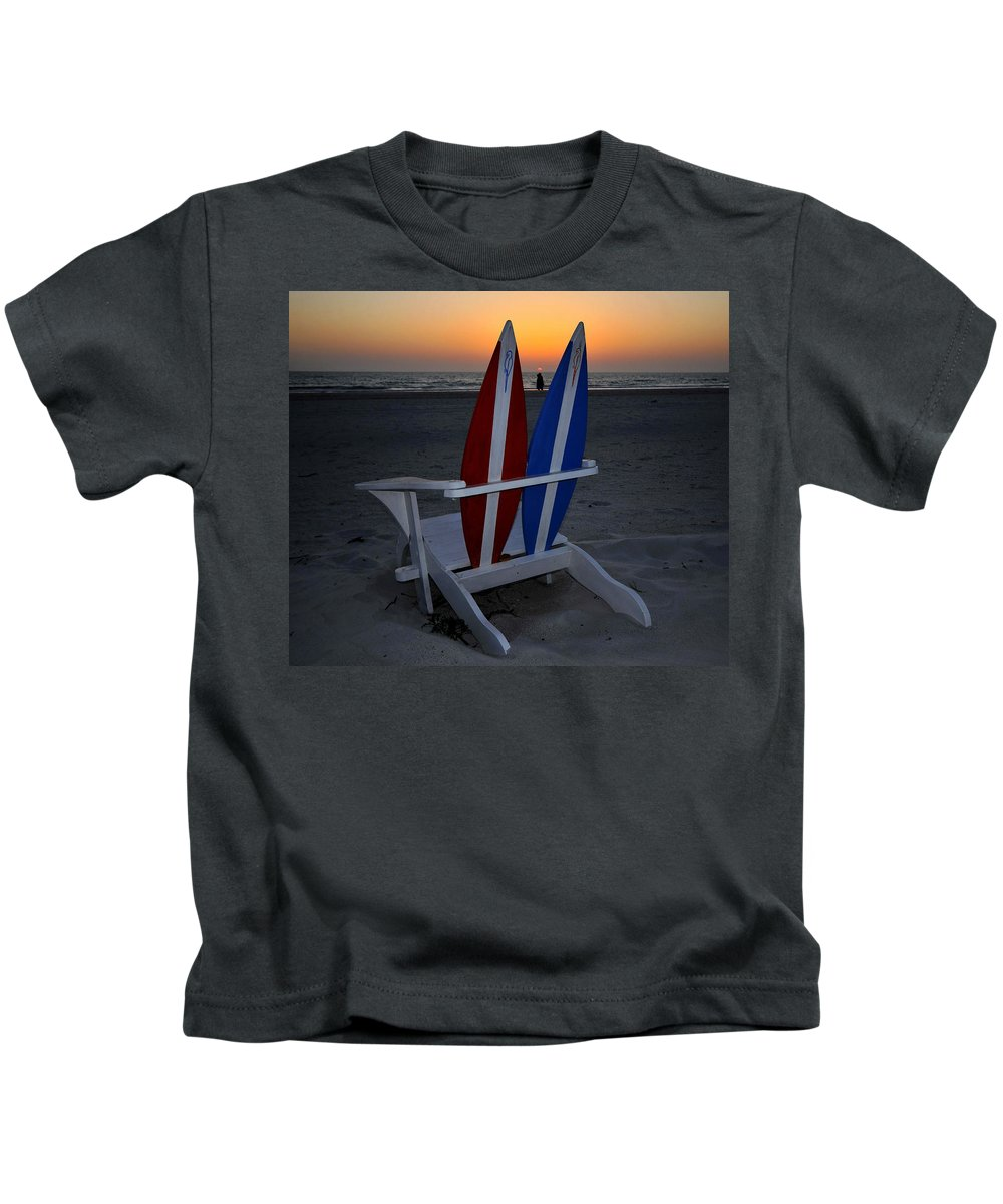 Beach Kids T-Shirt featuring the photograph Surfboard Chair Sunset by David Lee Thompson