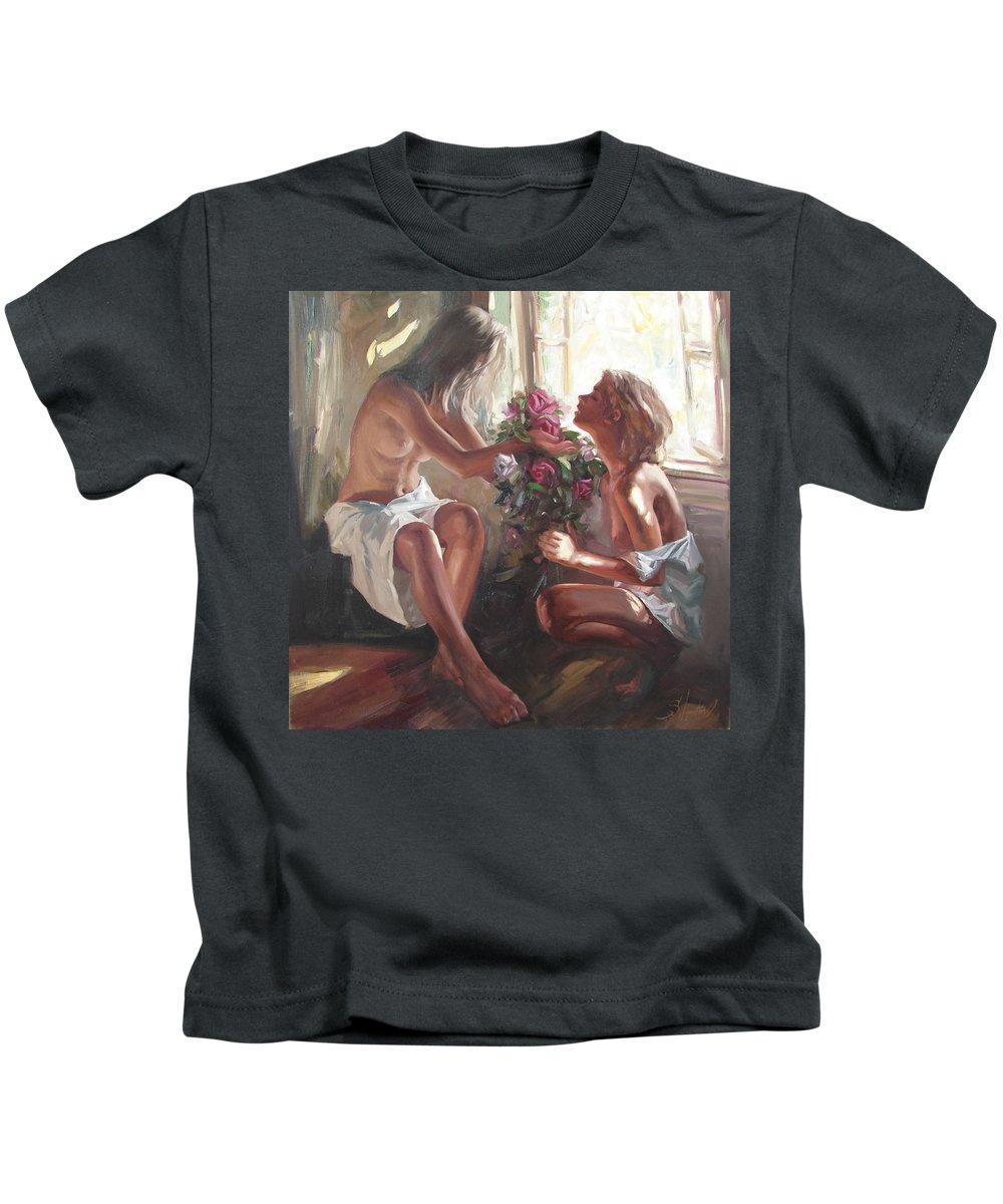 Ignatenko Kids T-Shirt featuring the painting Surprise by Sergey Ignatenko