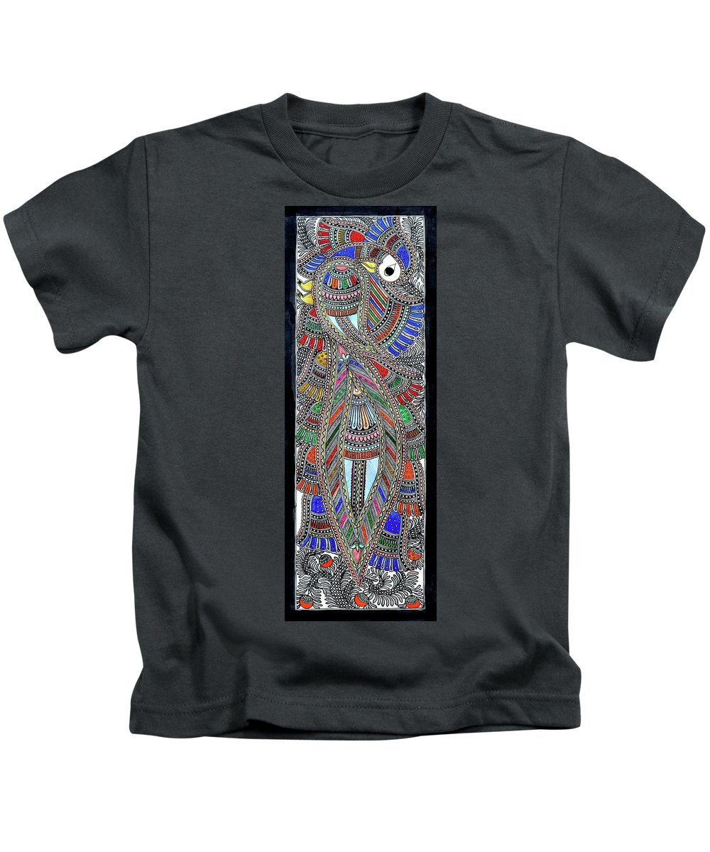 Kids T-Shirt featuring the painting Swan Fish by Prerna