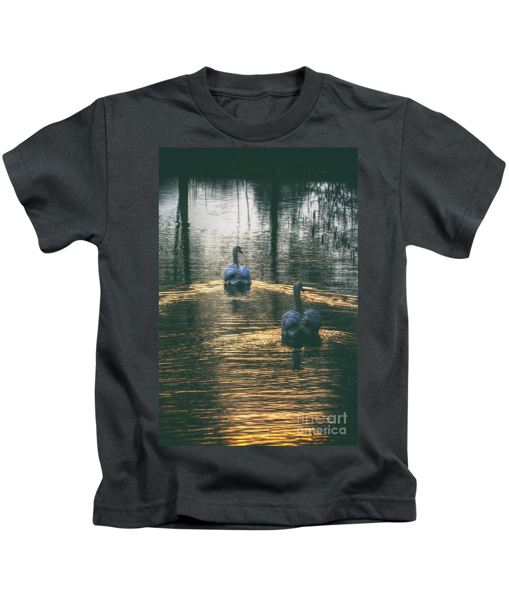 Swan Kids T-Shirt featuring the digital art Swans At Sunset by Nigel Bangert