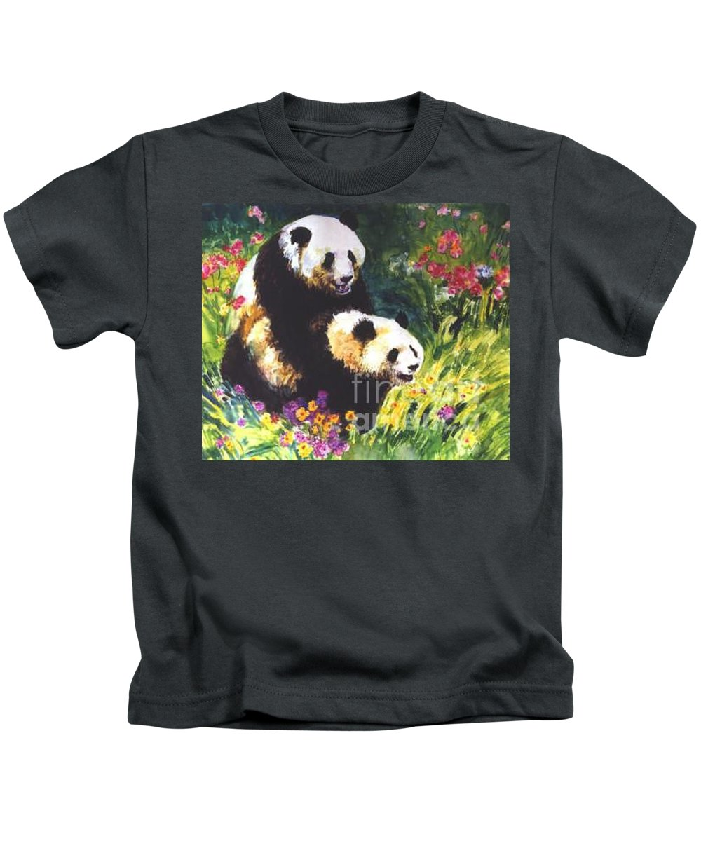 Panda Kids T-Shirt featuring the painting Sweet As Honey by Guanyu Shi