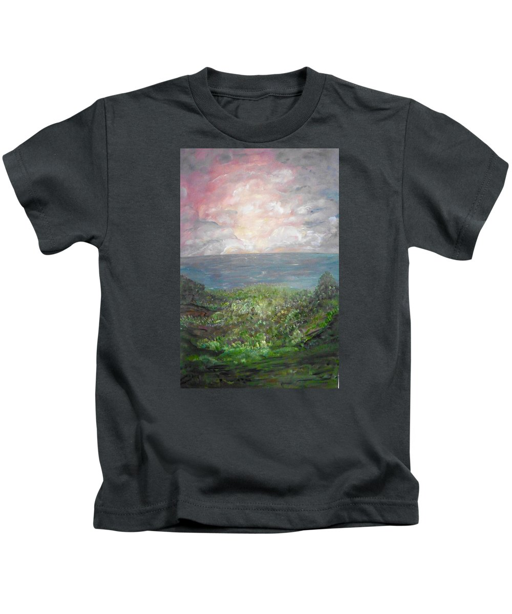 Whimsical Landscape Kids T-Shirt featuring the painting Sweet Bliss by Sara Credito