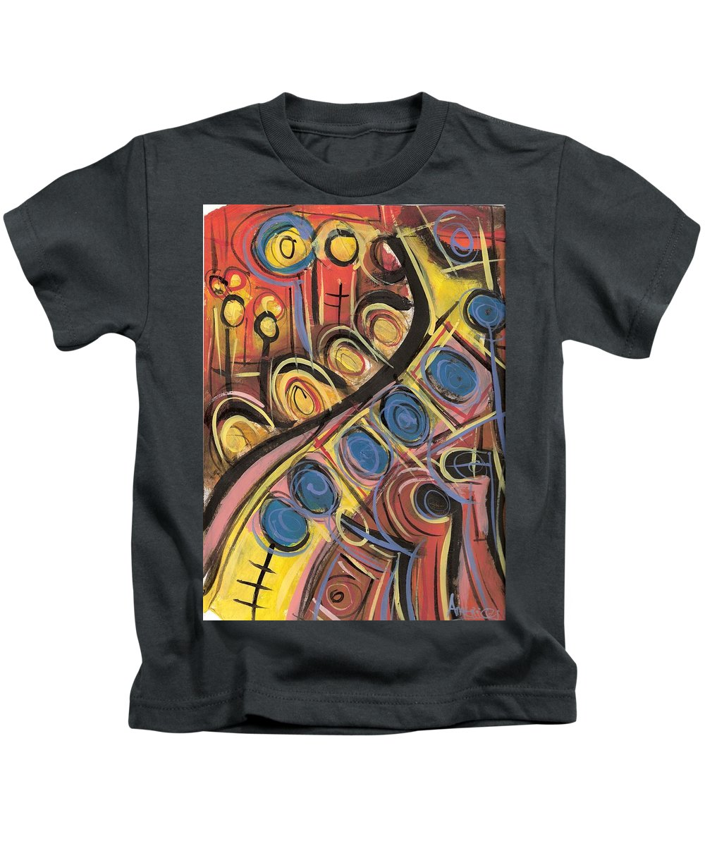 Abstract Painting Kids T-Shirt featuring the painting Sweet Music by Americo Salazar