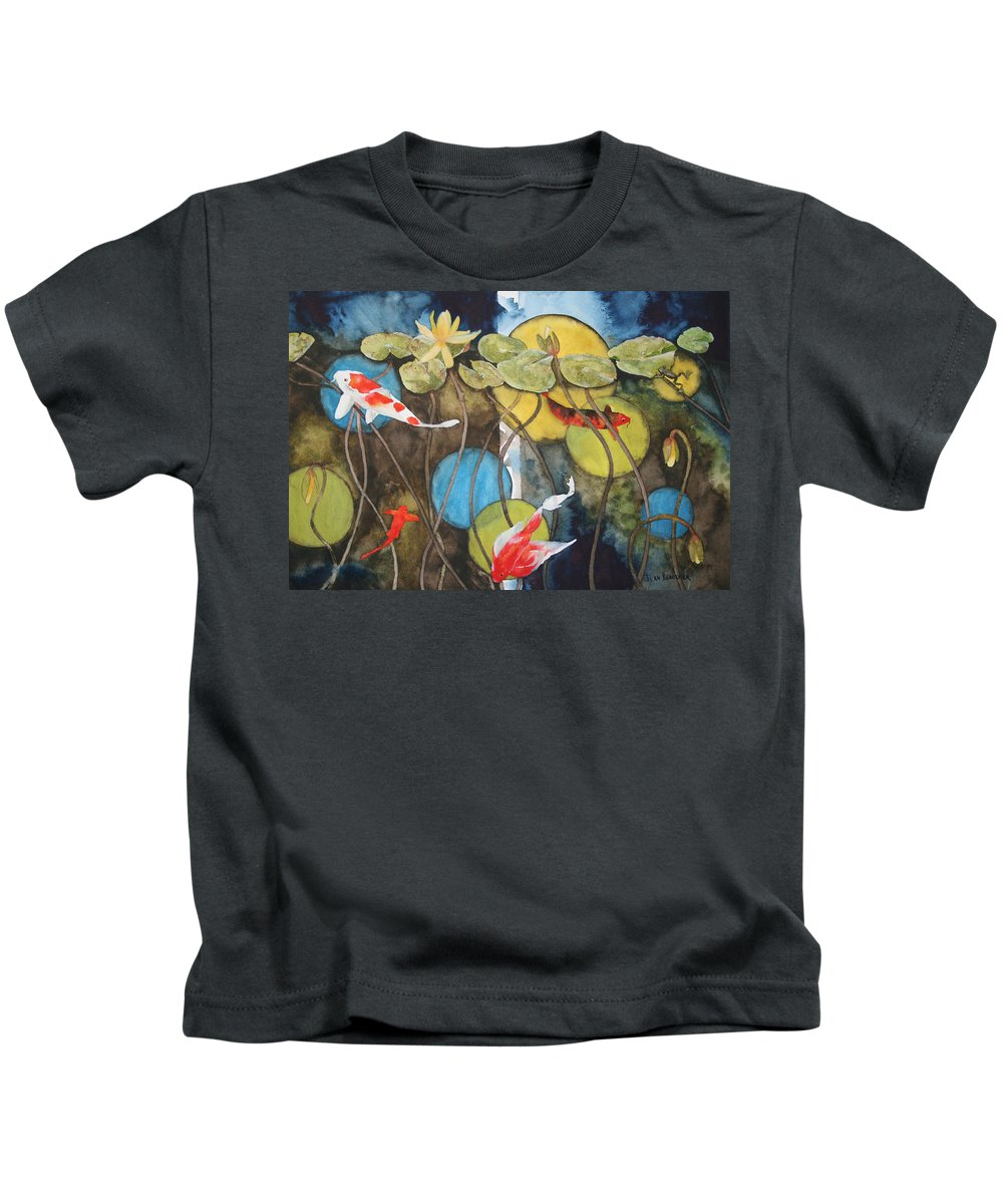 Abstract Kids T-Shirt featuring the painting Swimming In Circles by Jean Blackmer