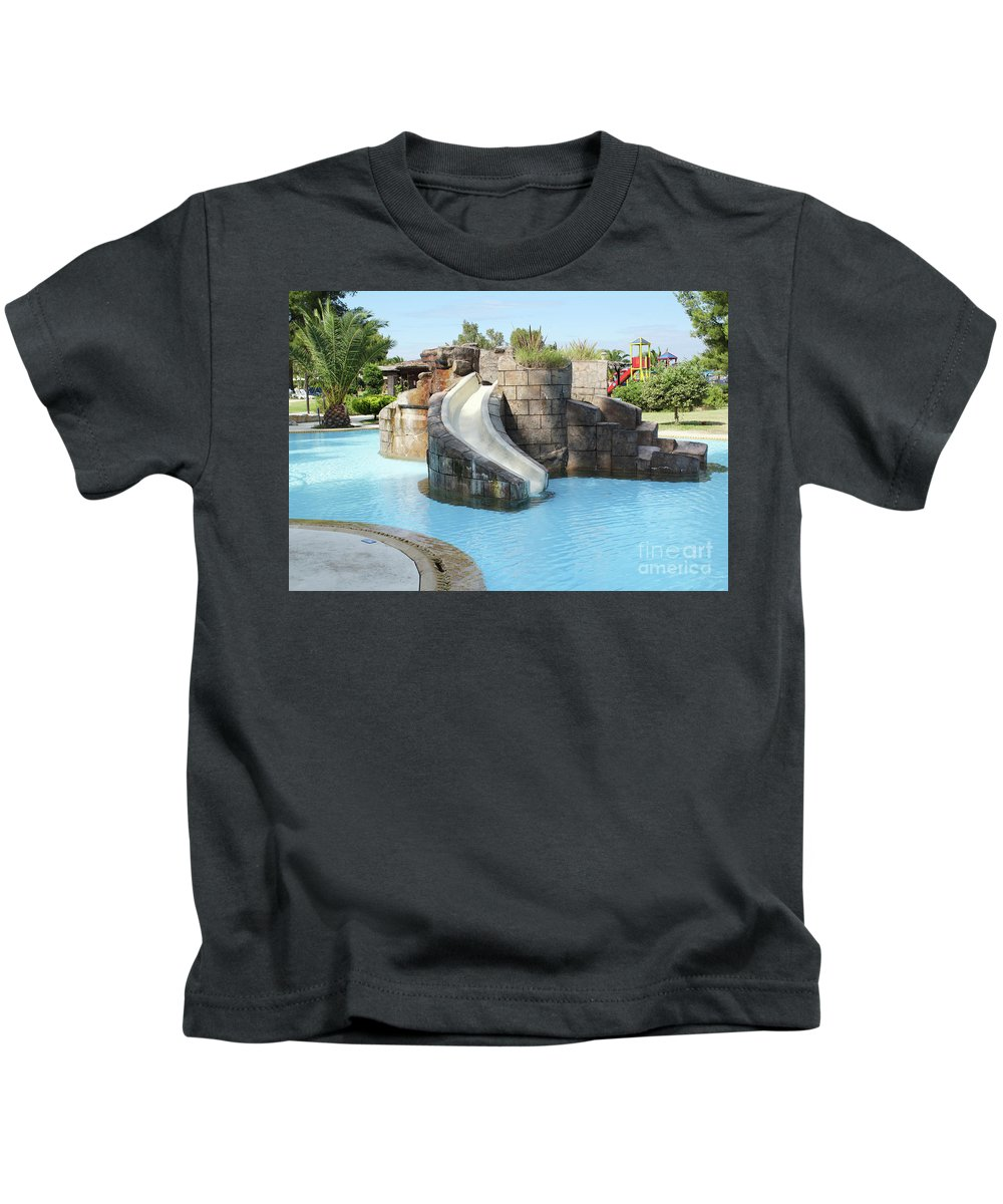 Outdoor Kids T-Shirt featuring the photograph Swimming Pool With Slide For Children by Goce Risteski