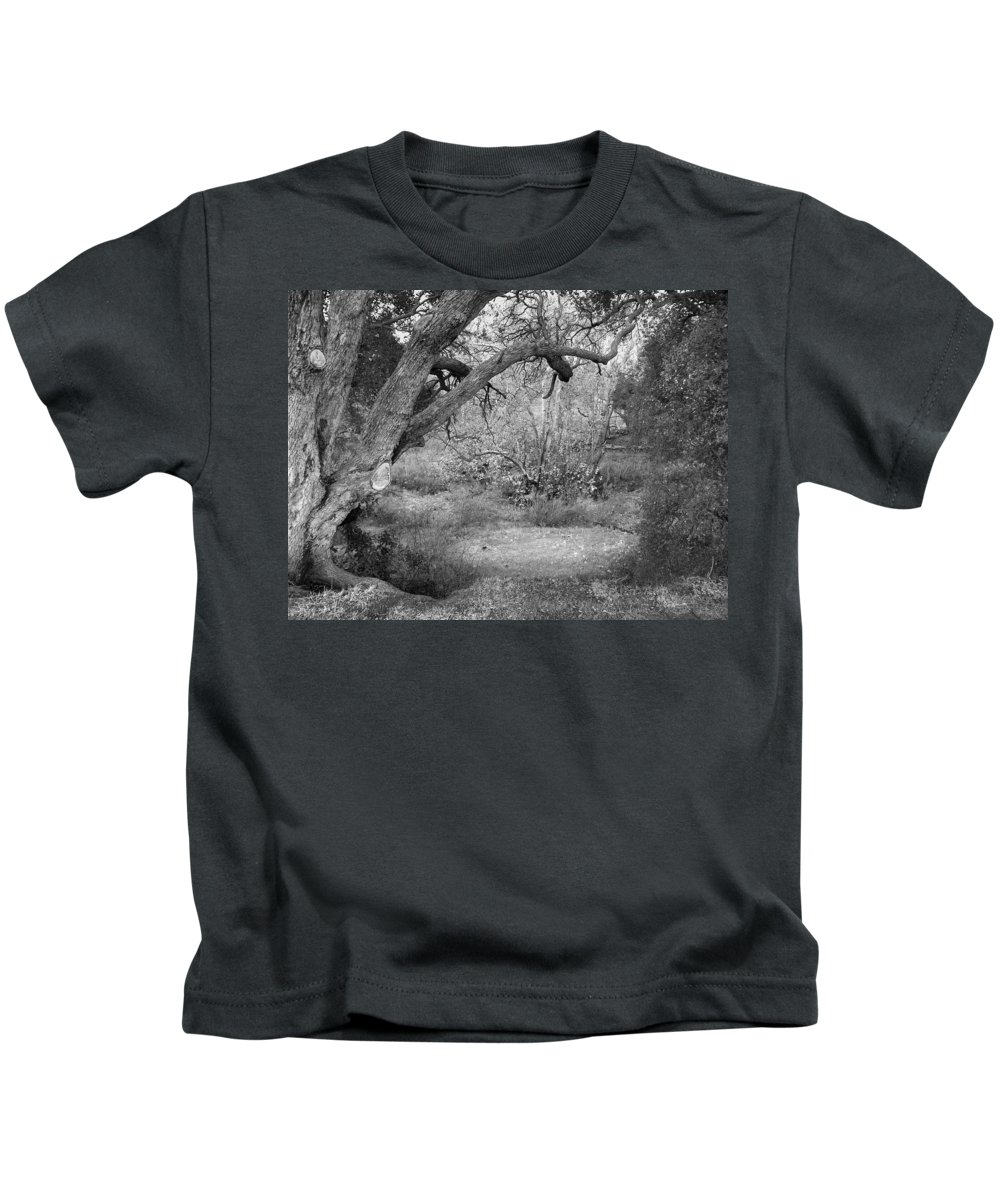 Landscape Kids T-Shirt featuring the photograph Sycamore Grove Black And White by Karen W Meyer