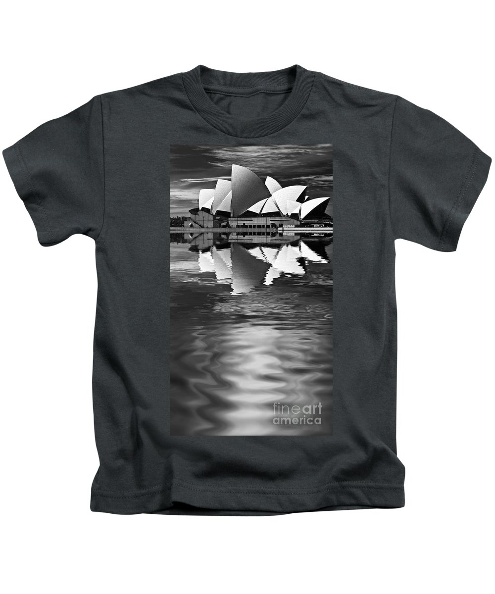 Sydney Opera House Monochrome Black And White Kids T-Shirt featuring the photograph Sydney Opera House Reflection In Monochrome by Sheila Smart Fine Art Photography