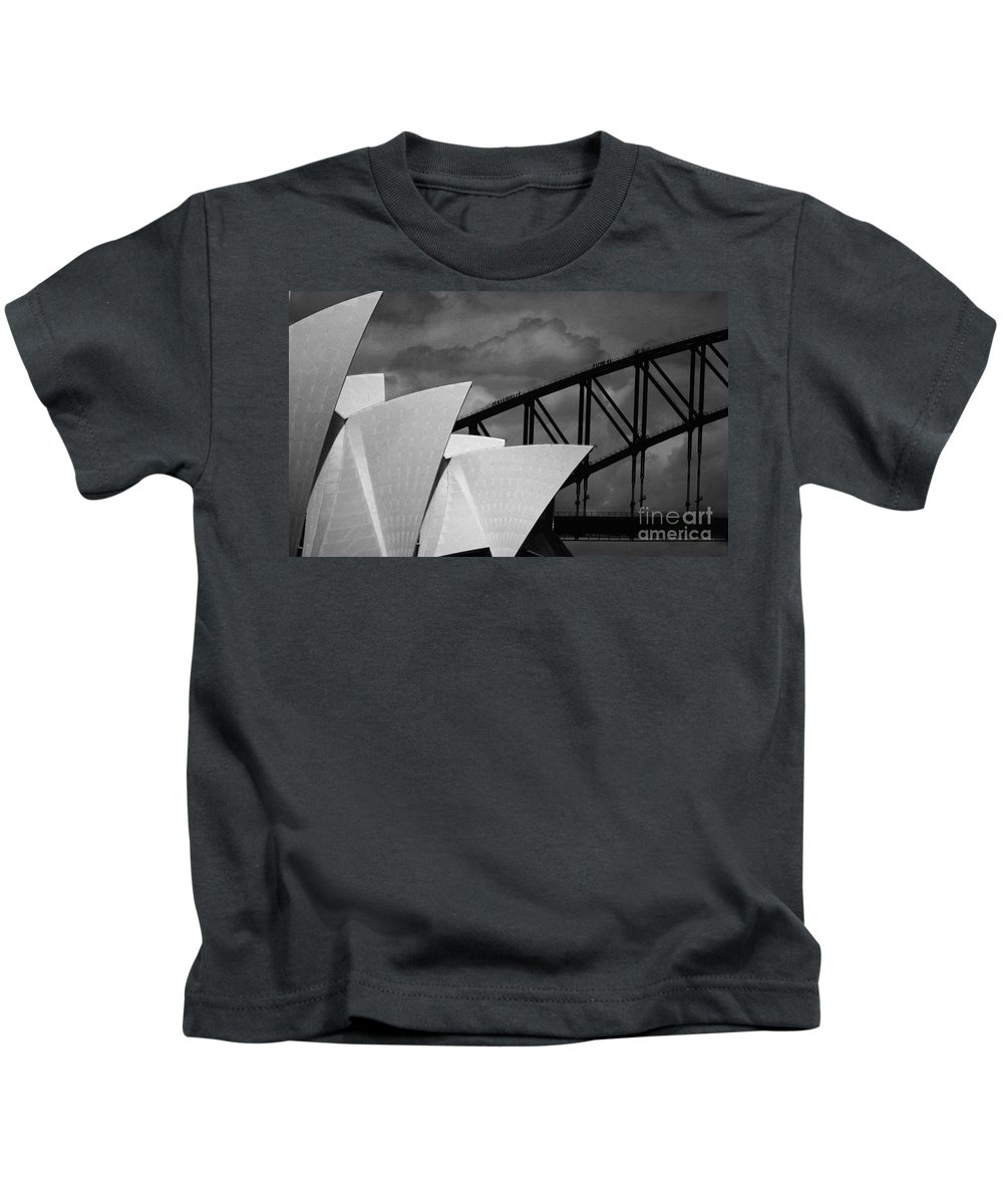 Sydney Opera House Kids T-Shirt featuring the photograph Sydney Opera House with Harbour Bridge by Sheila Smart Fine Art Photography