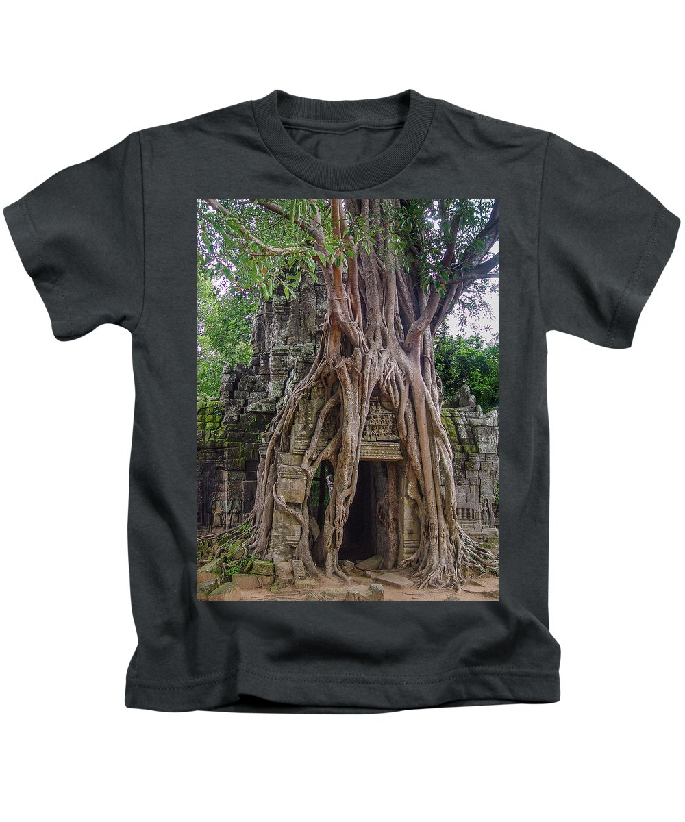Cambodia Kids T-Shirt featuring the photograph Ta Prohm Door by Michael Morrissey