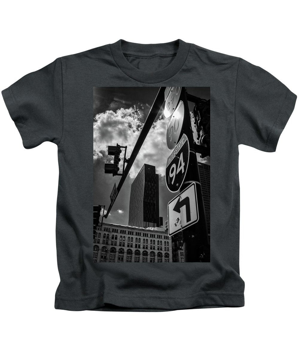 Blackwhite Kids T-Shirt featuring the photograph Take A Turn, Chicago, Il by Eric Drumm
