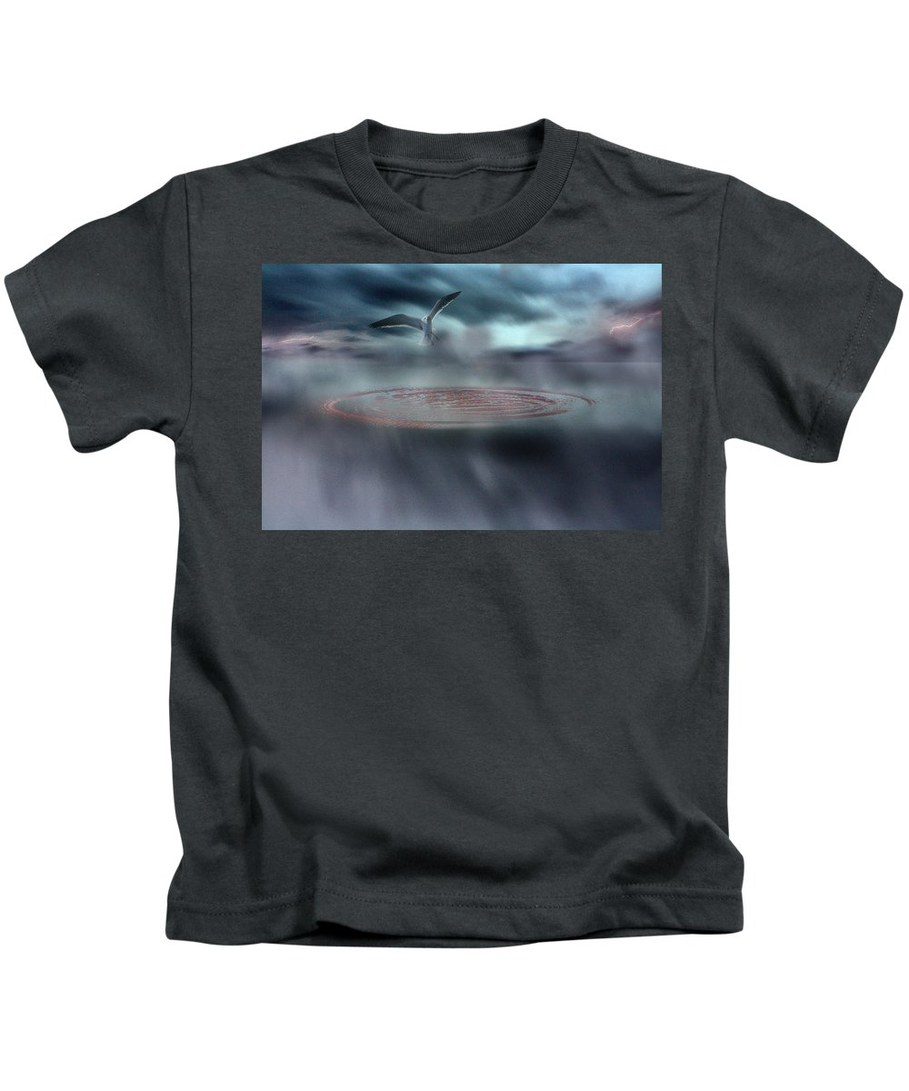 Seagull Kids T-Shirt featuring the photograph Taking Flight by Gray Artus