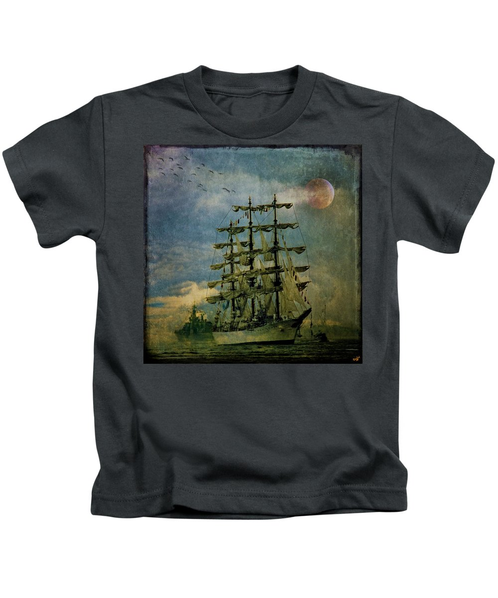 Tall Ship Kids T-Shirt featuring the photograph Tall Ship New York Harbor 1976 by Chris Lord