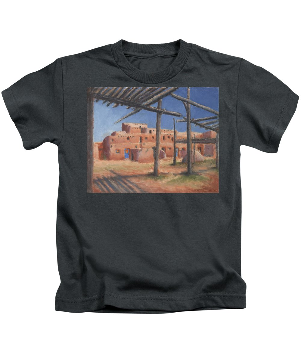 Taos Kids T-Shirt featuring the painting Taos Pueblo by Jerry McElroy