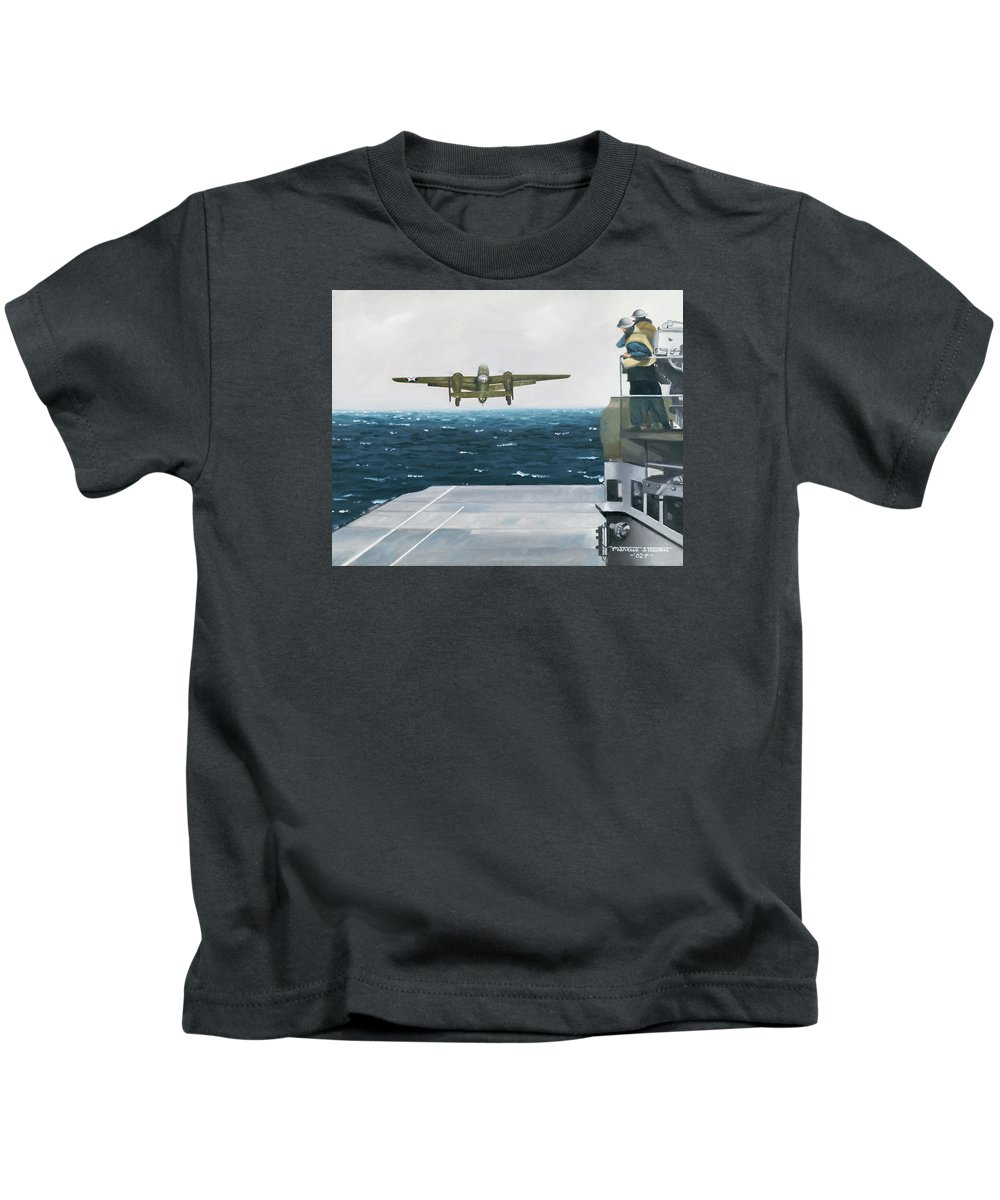Aviation Kids T-Shirt featuring the painting Target Tokyo by Marc Stewart