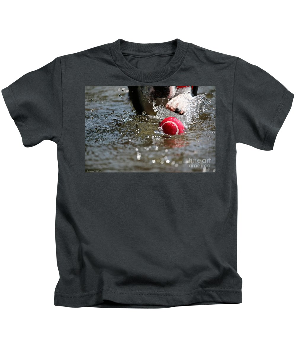Boston Terrier Kids T-Shirt featuring the photograph Targeted by Susan Herber