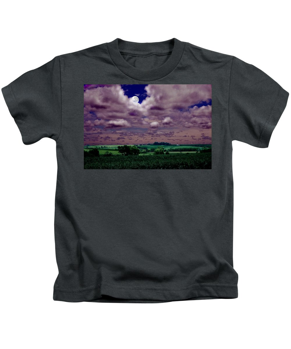 Landscape Kids T-Shirt featuring the photograph Tarkio Moon by Steve Karol