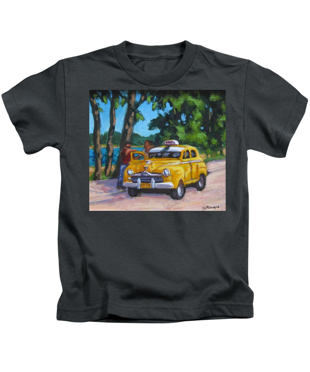Old Cars Kids T-Shirt featuring the painting Taxi Y Amigos by John Malone