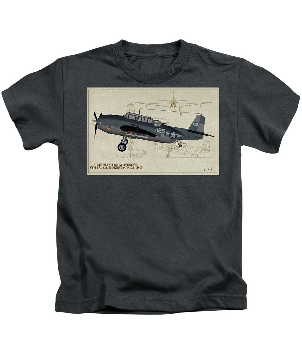 Grumman Tbm Avenger Kids T-Shirt featuring the digital art Tbm-3 Avenger Profile Art by Tommy Anderson