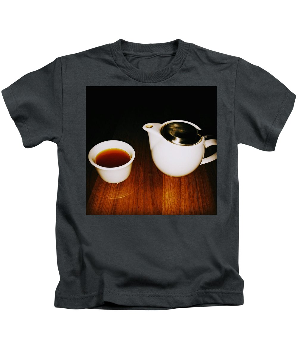 Tea Lovers Kids T-Shirt featuring the pyrography Tea-juana by Albab Ahmed