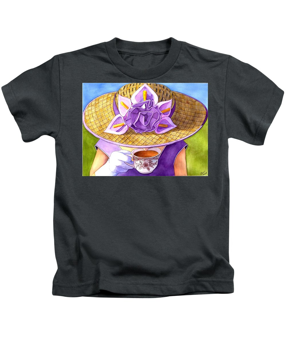 Tea Kids T-Shirt featuring the painting Tea Party by Catherine G McElroy