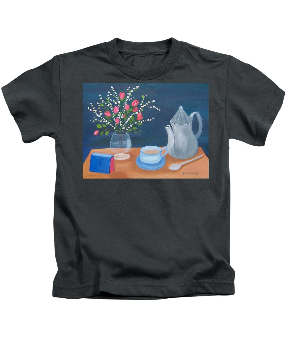 Still Life Kids T-Shirt featuring the painting Tea Time by Ruth Housley