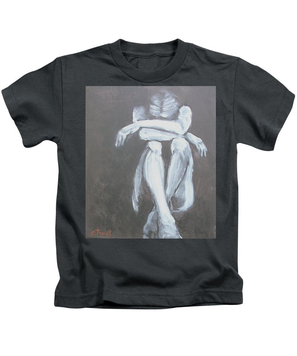 Original Kids T-Shirt featuring the painting Tears by Carmen Tyrrell