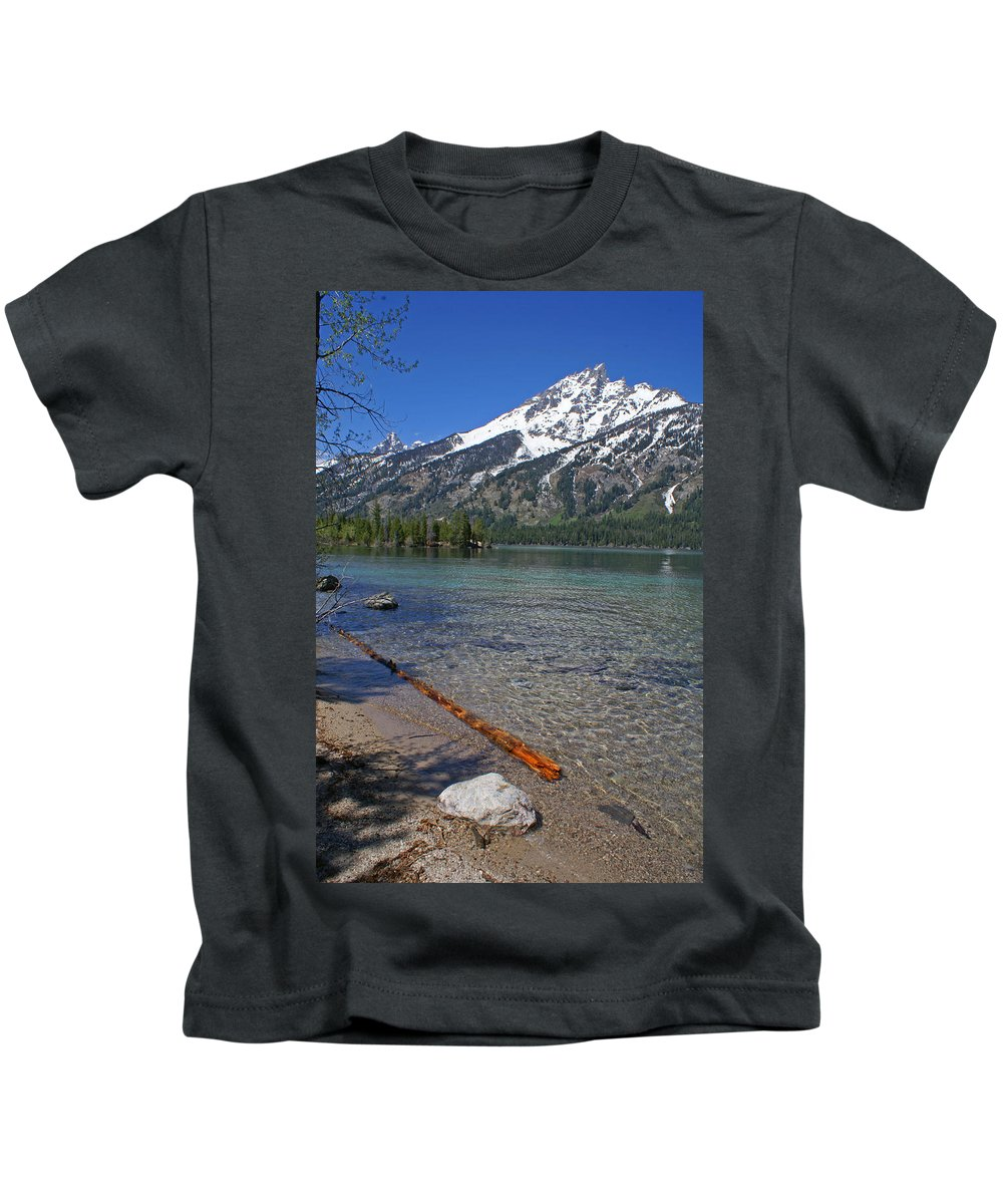 Grand Tetons Kids T-Shirt featuring the photograph Teewinot by Heather Coen
