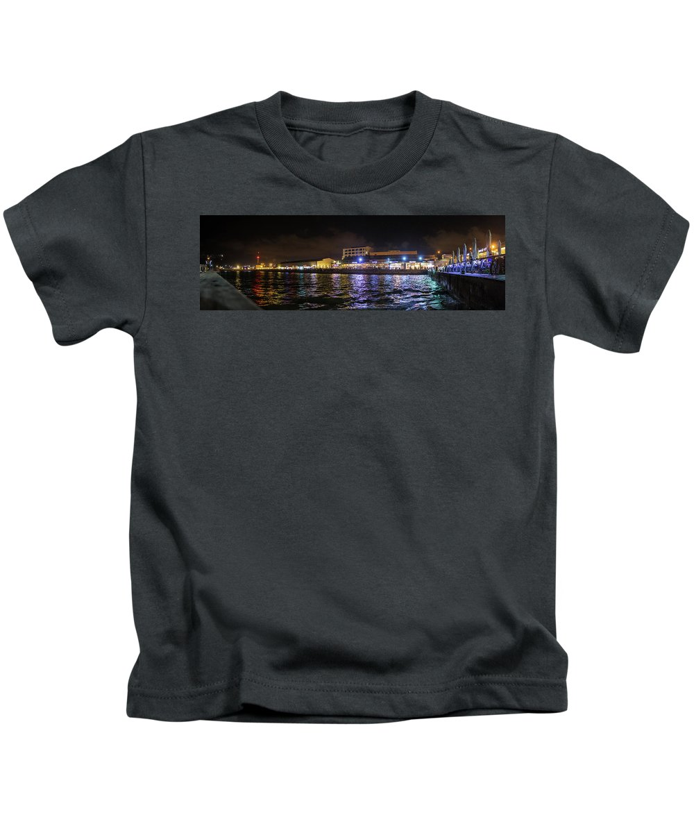 Israel Kids T-Shirt featuring the photograph Tel Aviv Port At Night by Juan Carlos Lopez