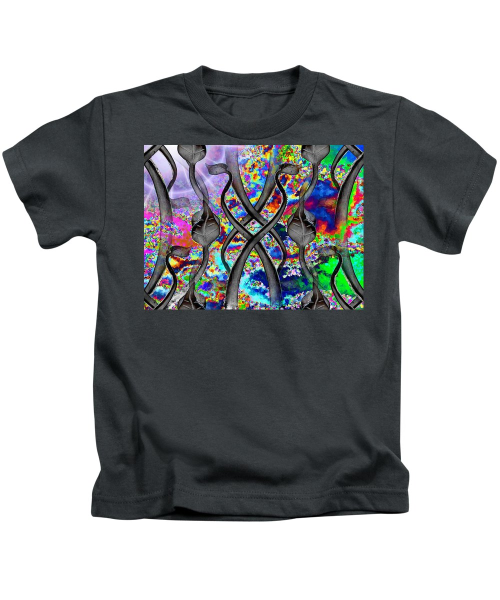 Kids T-Shirt featuring the digital art Tendril Tango by Tim Allen