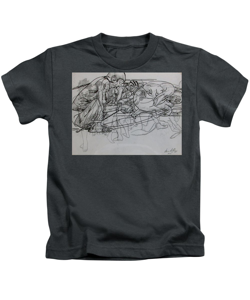 Charcoal Kids T-Shirt featuring the drawing Tortured Faces by Nkese Miller