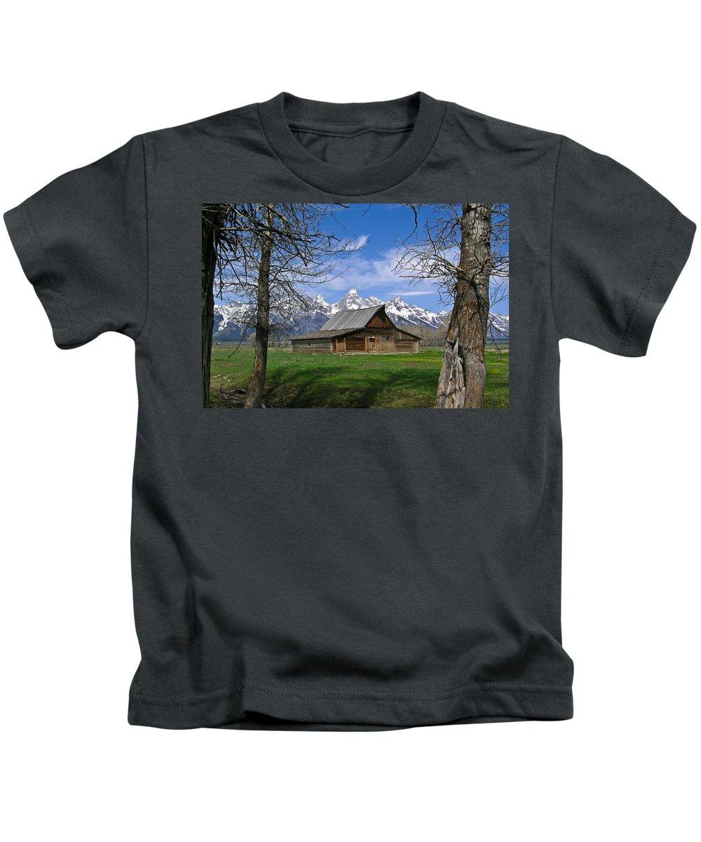 Teton Kids T-Shirt featuring the photograph Teton Barn by Douglas Barnett