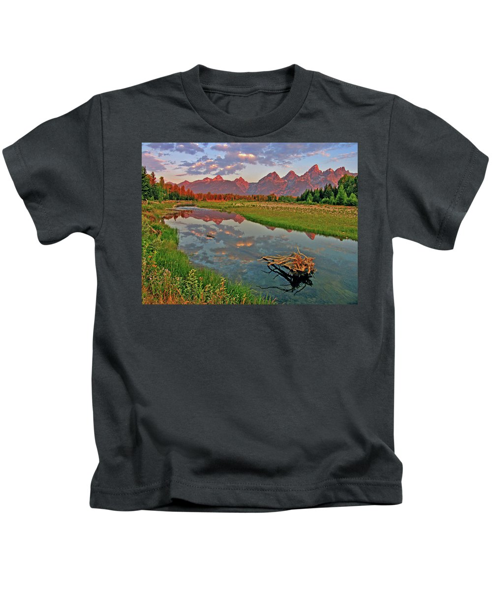 Mountain Kids T-Shirt featuring the photograph Teton Reflection by Scott Mahon