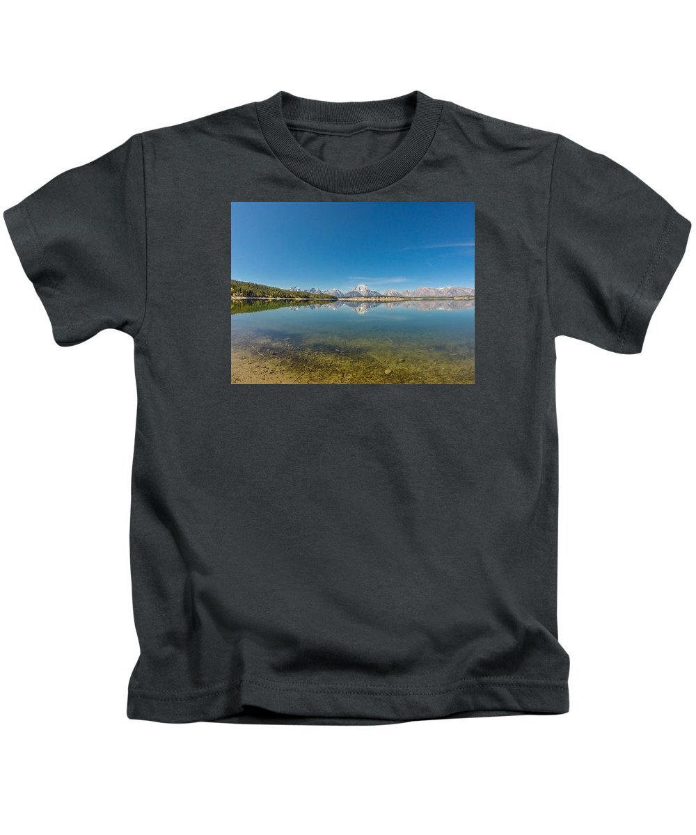 Mountains Kids T-Shirt featuring the photograph Teton Reflections by Megan Martens