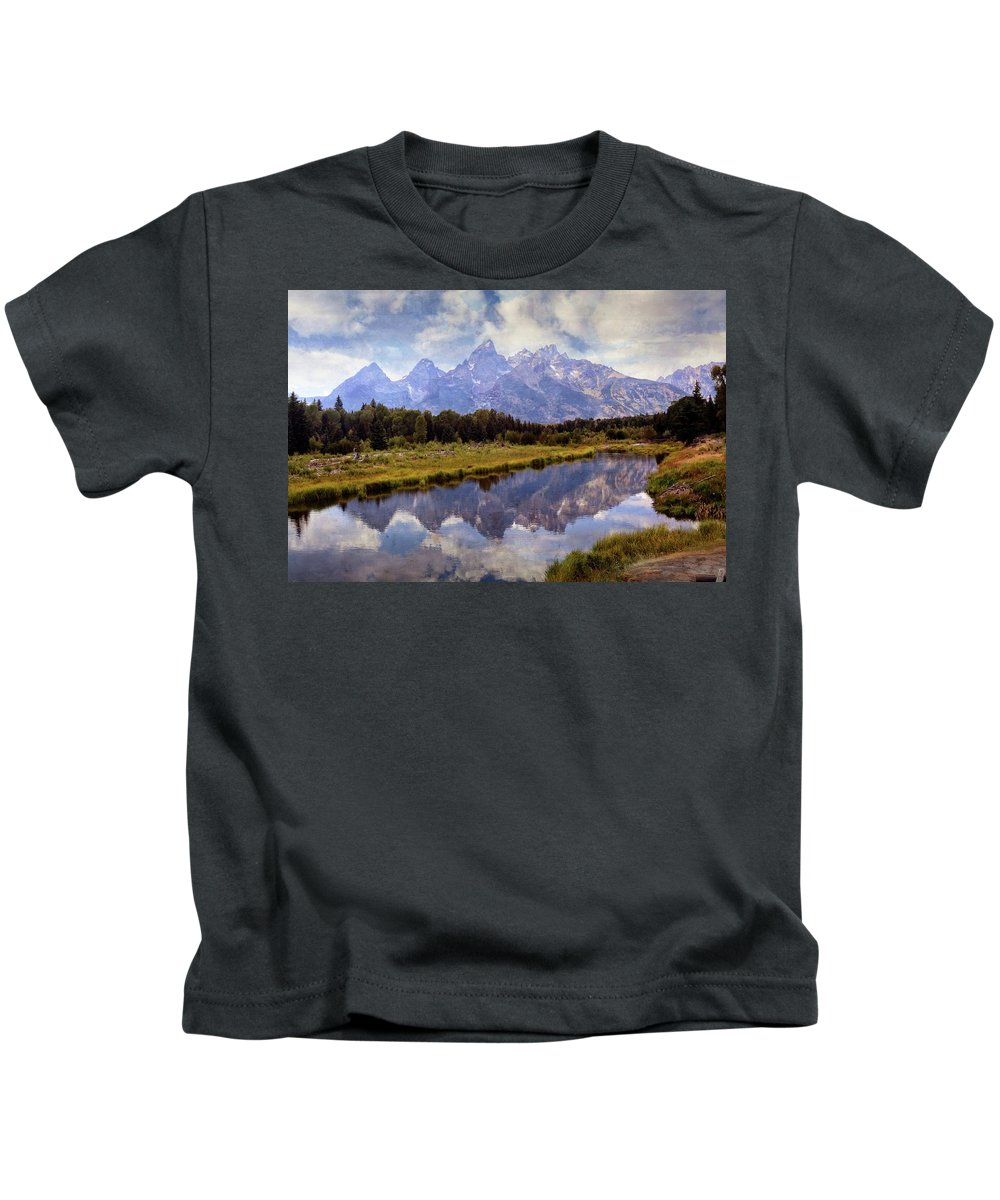 Grand Teton National Park Kids T-Shirt featuring the photograph Tetons At The Landing 1 by Marty Koch