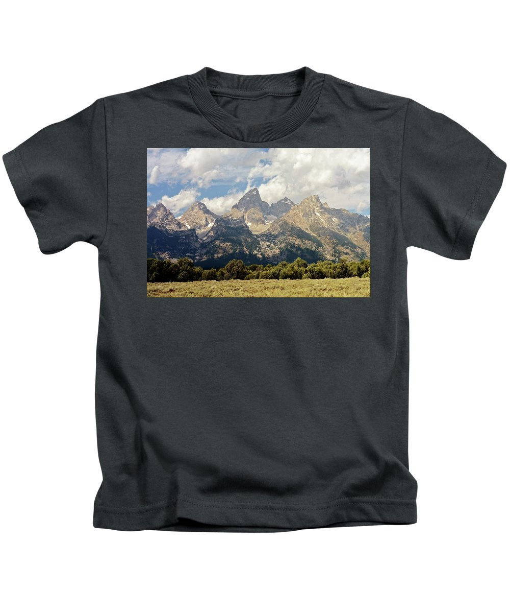 Grand Teton National Park Kids T-Shirt featuring the photograph Tetons Grande 2 by Marty Koch