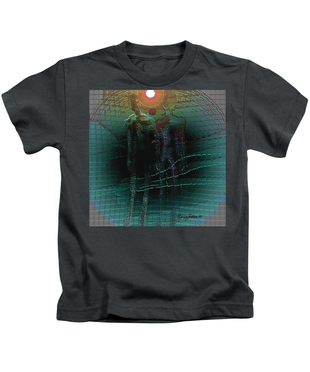 People Alien Arrival Visitors Kids T-Shirt featuring the digital art The Arrival by Veronica Jackson