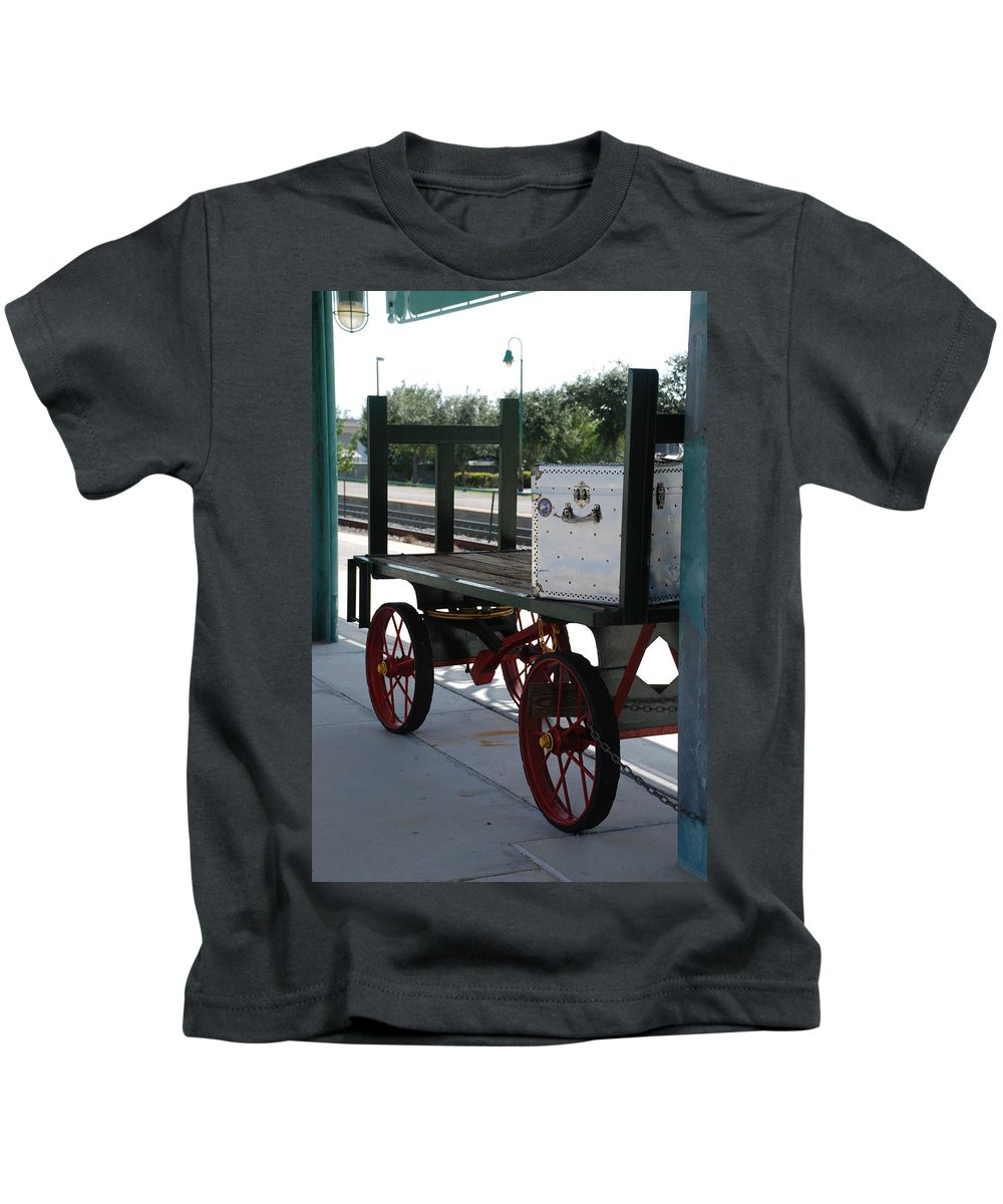 Train Station Kids T-Shirt featuring the photograph The Baggage Cart And Truck by Rob Hans