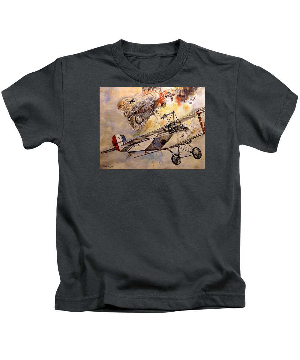 Military Kids T-Shirt featuring the painting The Balloon Buster by Marc Stewart