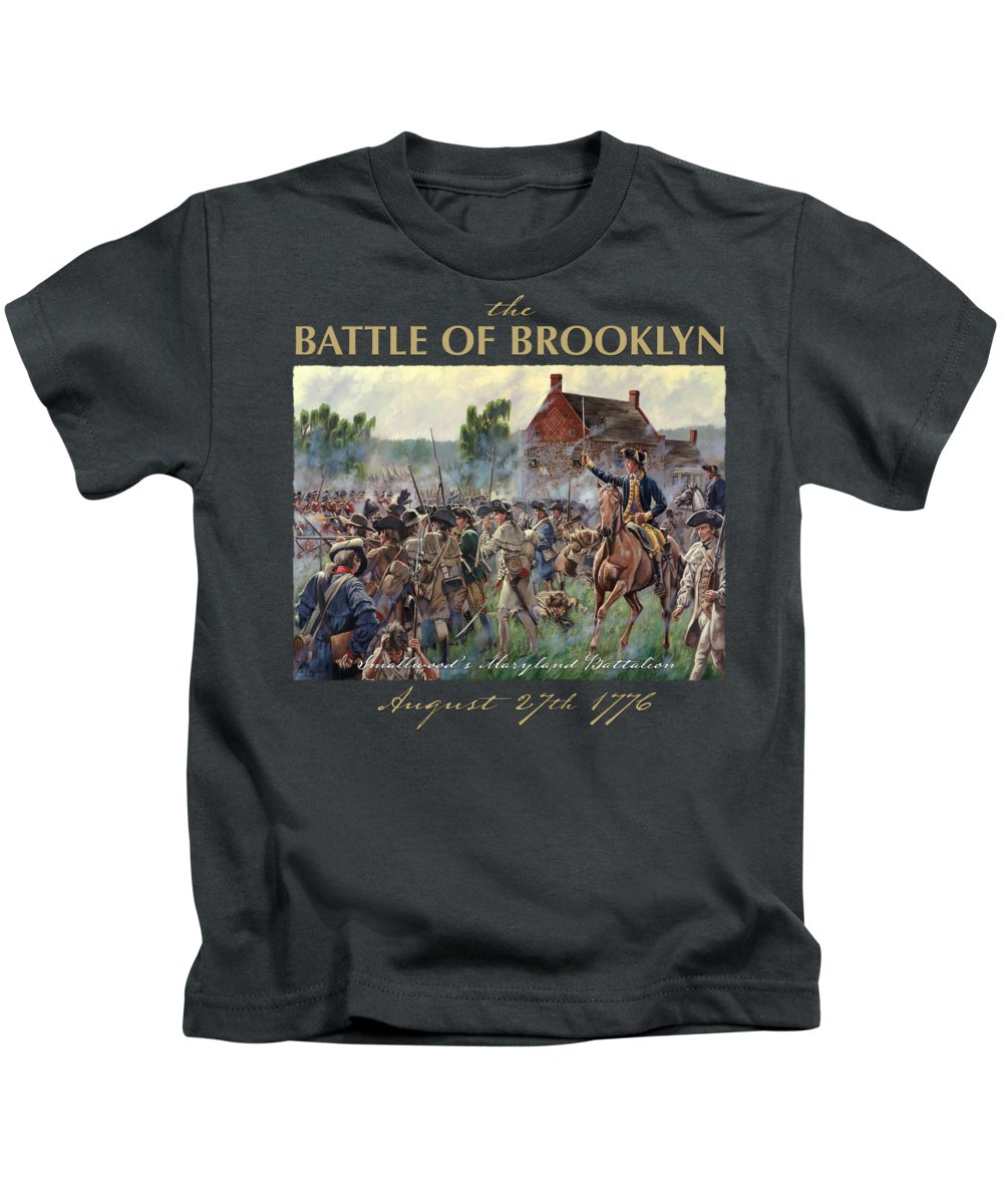 Revolutionary War Art Kids T-Shirt featuring the painting The Battle Of Brooklyn - Smallwood's Marylanders At The Old Stone House - Long Island by Mark Maritato