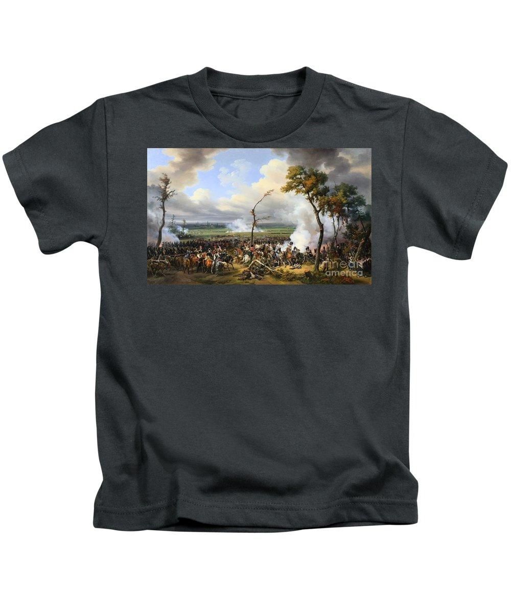 Horace Vernet - The Battle Of Hanau 1824 Kids T-Shirt featuring the painting The Battle Of Hanau by MotionAge Designs