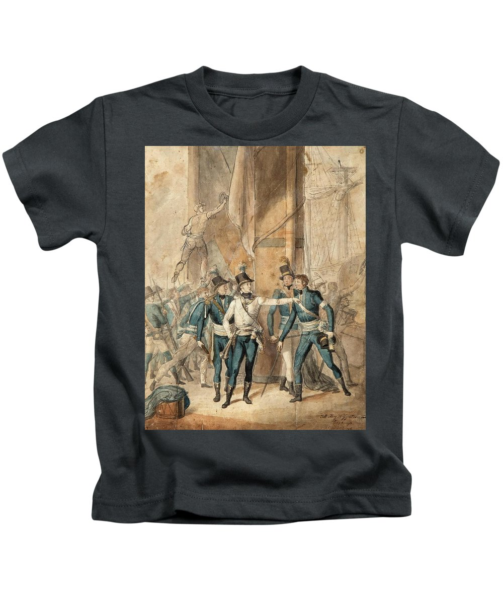 Per Krafft D.y. Kids T-Shirt featuring the painting The Battle Of Hogland by MotionAge Designs