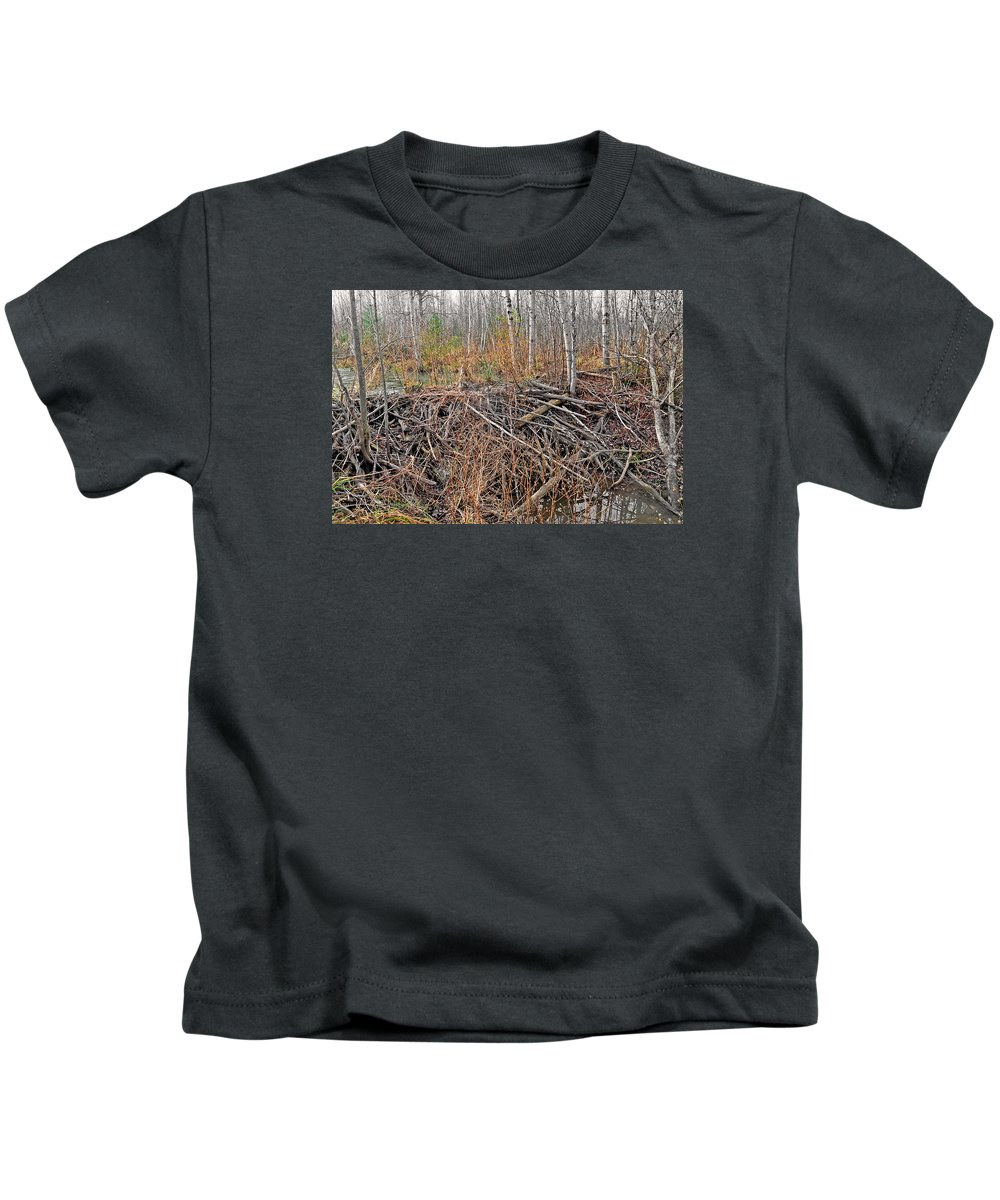 North American Beaver Kids T-Shirt featuring the photograph The Beaver Dam by Asbed Iskedjian