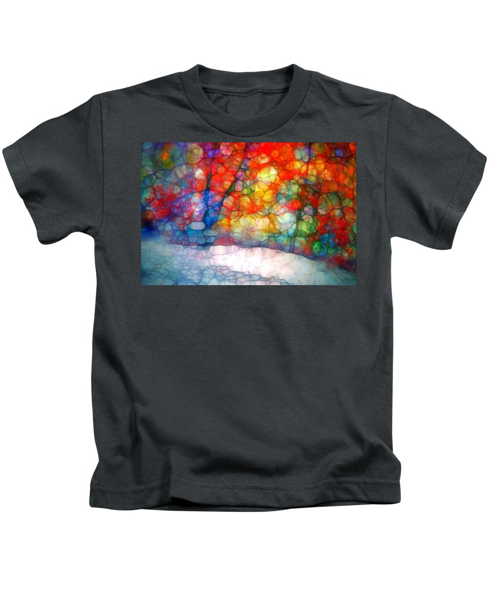 Tree Kids T-Shirt featuring the photograph The Bench At First Snow by Tara Turner