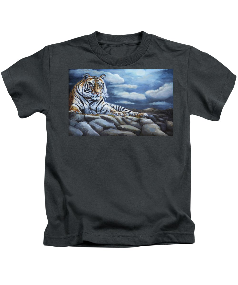 Wildlife Kids T-Shirt featuring the painting The Bengal Tiger by Portraits By NC