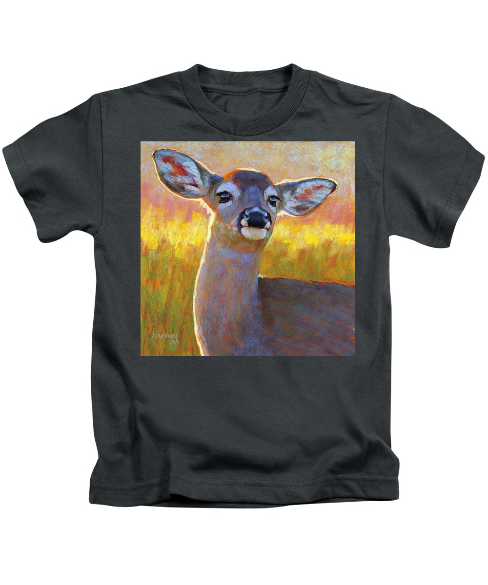 Animals Kids T-Shirt featuring the painting The Better To Hear You With My Dear by Rita Kirkman