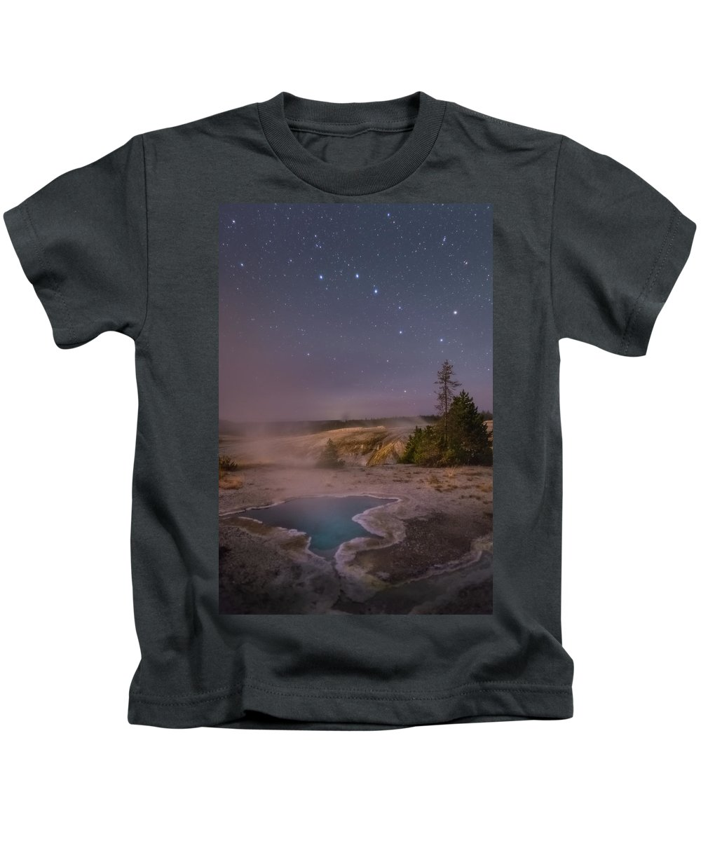 Astrophotography Kids T-Shirt featuring the photograph The Big Dipper In Yellowstone National Park by Alex Conu