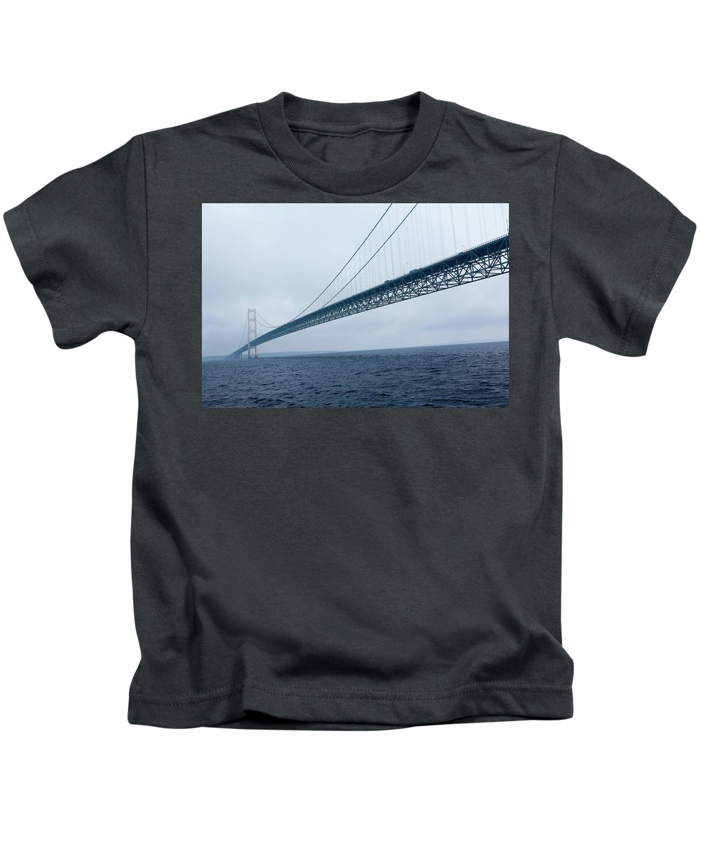 Mackinac Bridge Kids T-Shirt featuring the photograph The Big Mac by Rich Sirko